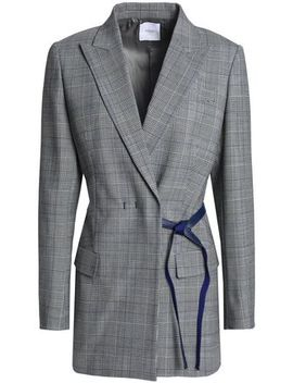 leather-trimmed-checked-twill-blazer by agnona