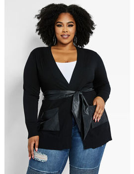 Belted Pu Trim Cardigan by Ashley Stewart