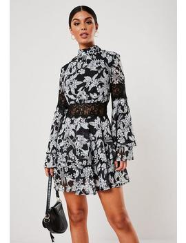 Black Floral Print High Neck Layered Frill Dress by Missguided