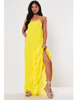 Yellow Strappy Pleated Maxi Dress by Missguided