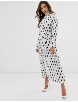 forever-u-collection-pleated-midaxi-dress-in-polka-dot-print by forever-unique