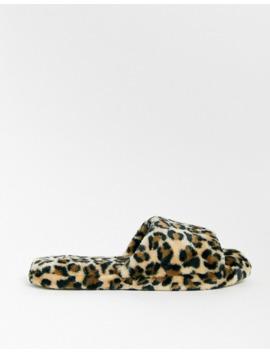 lindex-faux-fur-leopard-print-slider-slippers by lindex
