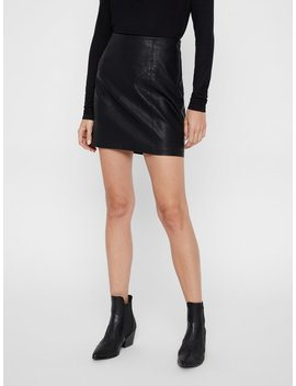 Leather Look Skirt by Vero Moda