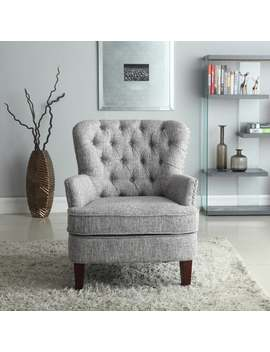 Bentley Button Tufted Accent Chair With Nailhead Trim, Gray White by Generic