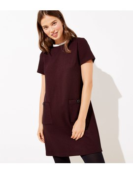 checked-ruffle-neck-pocket-shift-dress by loft
