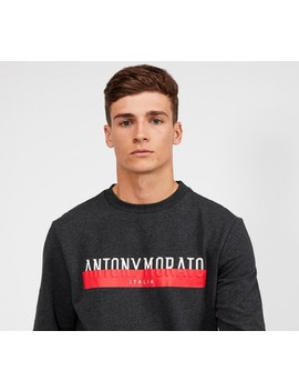 Covered Logo Sweatshirt | Charcoal / Red by Antony Morato