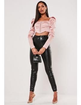 blush-satin-hook-and-eye-milkmaid-crop-top by missguided
