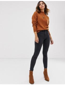 yas-highneck-brushed-rib-sweater-in-brown by yas