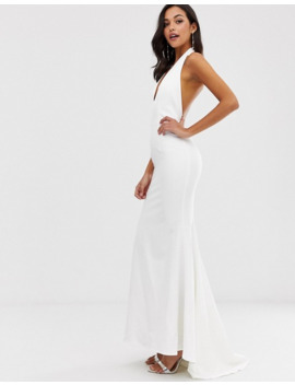 jarlo-extreme-plunge-front-maxi-dress-with-drop-back-in-white by jarlo