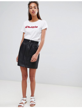 french-connection-zip-front-mini-skirt-in-faux-leather by french-connection