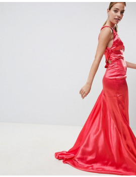 jarlo-petite-high-neck-fishtail-maxi-dress-with-strappy-open-back-detail by jarlo