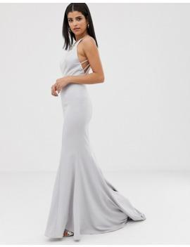 jarlo-tall-halterneck-maxi-dress-with-multi-strap-drop-back-in-silver-grey by jarlo