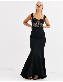 jarlo-bustier-maxi-dress-with-lace-insert-in-black by jarlo