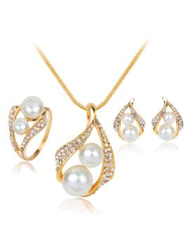 hot-sale-fashion-jewelry-sets-pearl-pendant-necklace-women-jewelry-set by lancui