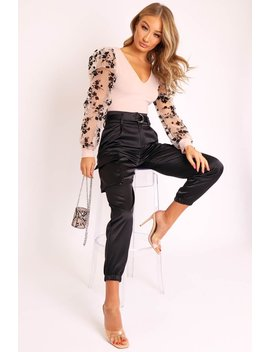 black-satin-belted-utility-pocket-double-buttoned-trousers---una by rebellious-fashion
