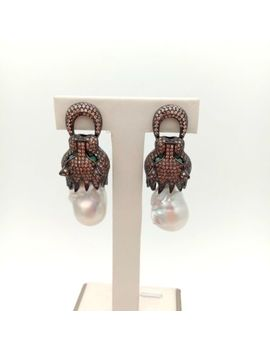 leopard-head-stud-earrings-white-keshi-freshwater-pearl-gunmetal-brown-cz-pave by unbranded