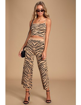 wild-night-camel-and-black-tiger-print-culotte-pants by lulus