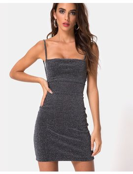 Kozue Dress In Silver Glitter By Motel by Motel