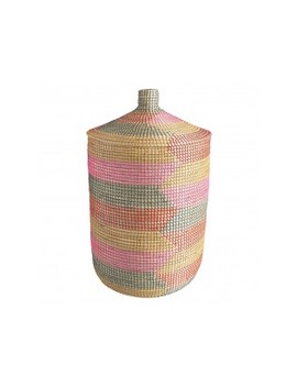 Pink Seagrass Laundry Basket With Lid Pink Seagrass Laundry Basket With Lid by Ular                         Ular