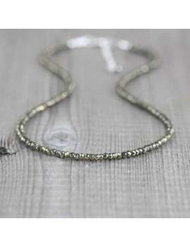 """beautiful-pyrite-beads-3-4mm-rondelle-faceted-beaded-gemstone-necklace-18"""" by stonebeads_mart"""