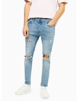 Light Wash Blowout Stretch Skinny Jeans by Topman