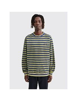 Stüssy Striped Polar Fleece Crewneck Sweatshirt Olive by Très Bien