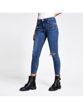 blue-amelie-super-skinny-zip-jeans by river-island