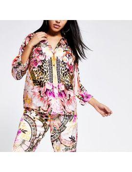 pink-printed-loose-fit-satin-pyjama-shirt by river-island