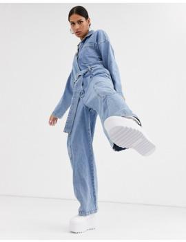 asos-design-denim-boilersuit-with-utility-pocket-in-light-wash-blue by asos-design