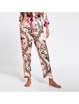 pink-printed-loose-fit-satin-pyjama-trousers by river-island
