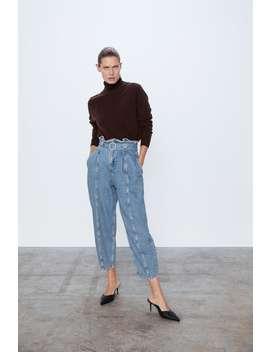 denim-slouchy-jeans-z1975-met-ceintuur by zara