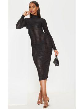 black-sheer-stripe-long-sleeve-high-neck-midi-dress by prettylittlething