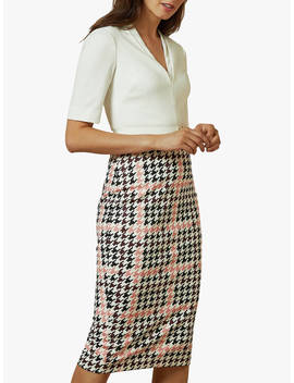 ted-baker-harlla-houndstooth-bodycon-dress,-ivory by ted-baker