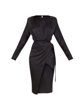 black-satin-wrap-skirt-backless-midi-dress by prettylittlething
