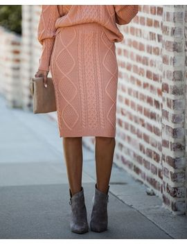 Kolly Knit Midi Skirt   Burnt Coral by Vici