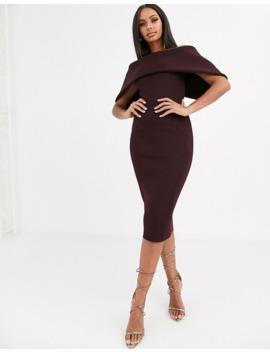 asos-design-fold-front-bardot-midi-pencil-dress by asos-design