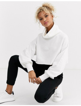 asos-design-crop-sweatshirt-with-slouchy-roll-neck-in-winter-white by asos-design