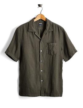 Short Sleeve Linen Camp Collar Shirt In Olive by Todd Snyder