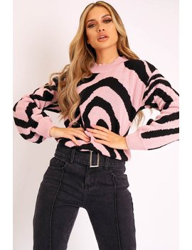 pink-black-abstract-print-knit-jumper---palyn by rebellious-fashion