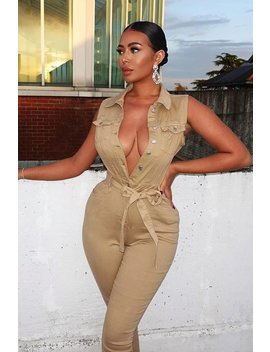 camel-button-front-sleeveless-jumpsuit---faven by rebellious-fashion
