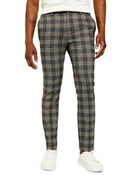 juice-skinny-fit-plaid-herringbone-pants by topman
