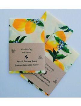 🌱size-large-30cm-natural-beeswax-food-wrap,-handmade,-eco-living,-lemons by handmade