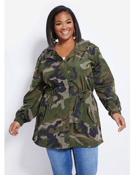 Camo Drawstring Jacket by Ashley Stewart