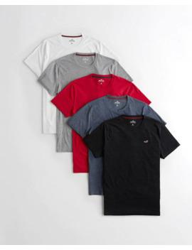 Lot De 5 T Shirts Col Ras Du Cou Avec Ourlet Arrondi by Hollister