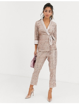 little-mistress-petite-tailored-sequin-wrap-blazer-in-rose-gold-co-ord by little-mistress
