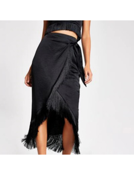 black-fringe-satin-wrap-midi-skirt by river-island