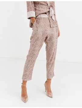 little-mistress-petite-tailored-sequin-trouser-in-rose-gold-co-ord by little-mistress