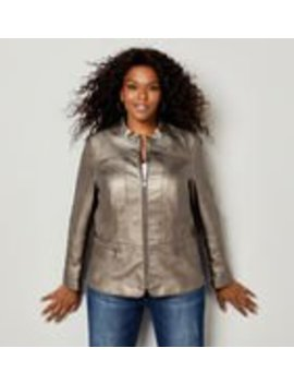 Metallic Faux Leather Moto Jacket by Avenue