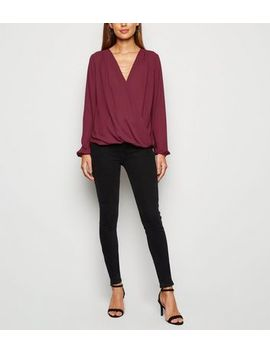 burgundy-necklace-wrap-top by new-look