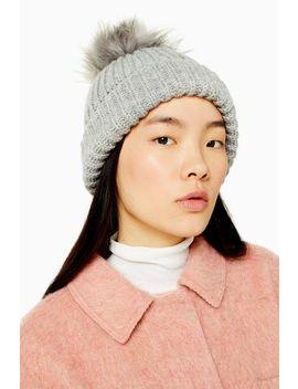 grey-faux-fur-pom-pom-beanie by topshop